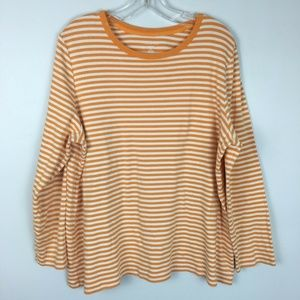 Lands End Womens Orange Striped Pullover Tee Shirt